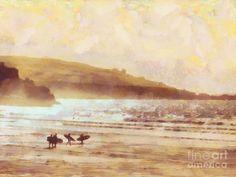 Surfer Dawn Painting by Pixel Chimp