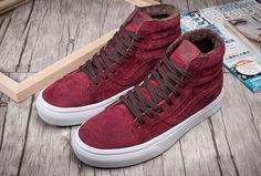 Vans SK8 Hi Windor Wine Suede Slim Winter Fleece Skate Shoes  Vans Cheap Van  7fa9bc7d967a