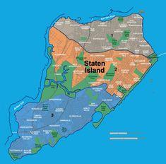 Map of Staten Island neighborhoods Staten Island Map, New York Neighborhoods, Island Pictures, North And South America, The Wiz, American History, New York City, City Photo, The Neighbourhood