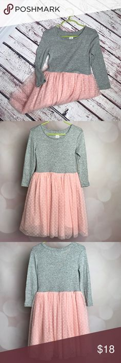 GAP Girls 6/7 dress, grey with pink tulle skirt. GAP Girl's dress, 6/7, grey top with pink tulle attached skirt. Worn a couple times. Darling for pictures! GAP Dresses Casual