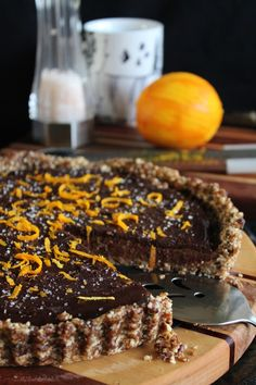 chocolate caramel tart with orange & sea salt