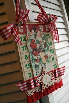 Vintage Style bingo card Christmas Santa decoration