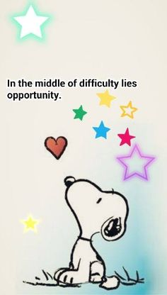 Snoopy Wishing on the Stars - In The Middle of Difficulty Lies Opportunity