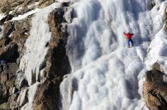 A man climbs an ice wall on the Presena glacier, northern Italy December 8, 2013. REUTERS/Alessandro Garofalo Northern Italy, Rock Climbing, Niagara Falls, Mount Everest, Adventure, Mountains, Badass, Nature, December