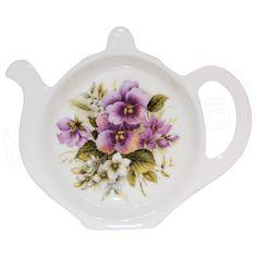 british teapot teabag holder | Pansy Tea Bag Tidy