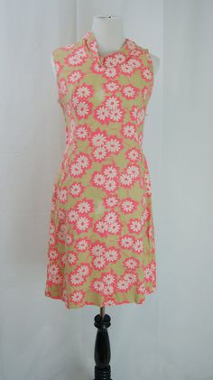 Vintage 1960s Day Glo Flower Power Linen Dress by hipandvintage