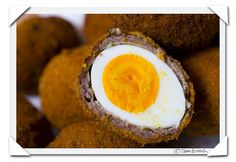 Scotch Eggs-Yes, hard boiled eggs wrapped in sausage, breaded and fried.