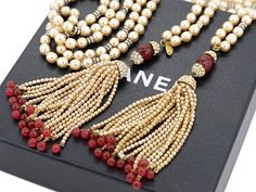 """CHANEL Red Gripoix Pearl Lariat Necklace 47"""" Fringe Tassel 1983 w/BOX  #1149 