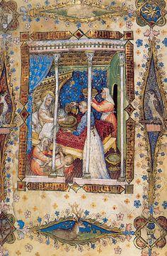 Giovannino de' Grassi, La Natività della vergine, miniatura dell'Offiziolo Visconti, ante 1395 (Firenze, Biblioteca Nazionale)