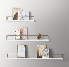 Minimalist Book Display Shelf – Waxed Wh… - Top Of The World Nursery Bookshelf, Bedroom Shelves, Wall Bookshelves Kids, Regal Display, Book Display Shelf, Book Wall, Wall Décor, Diy Home, Home Decor