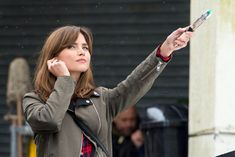 Don't worry Jenna Coleman hasn't been replaced as The Doctors sidekick, it's just a stunt double on the set of Doctor Who