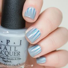 Light blue, turquoise, and gray waterfall mani // Artist: @thesammersaurus