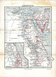 Aegyptus Historical Vintage Map Ancient Egypt 1923 to Frame at CarambasVintage, 16.00 USD, http://etsy.me/1Hhqanq