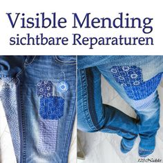 123-Nadelei: Stoffspielerei Visible Mending Visible Mending, Sewing Projects, Pattern, Pants, Workshop, Inspired, Fashion, Scrappy Quilts, Monogram