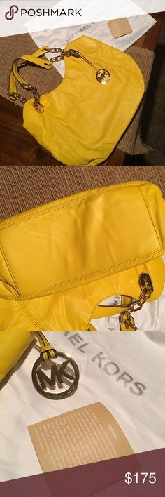 Michael Kors Lilly Citrus Large Leather Tote This gorgeous *AUTHENTIC* Michael Kors leather handbag is in excellent shape. It was carried for not even a week. It's just not my style, but deserves a good home! Comes with dust bag and leather care tag, I do not have the original tags, but the serial number is 35T0GLLT3L. The inside has no flaws, the bottom does have some discoloration along the thread line which you can see in the pictures above. Would be a perfect bag for spring and summer…