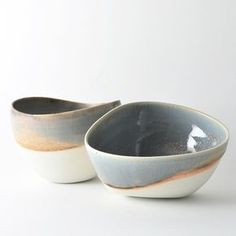 2 asymmetrical bowls | Designed by Elaine Tain of Studio Joo (http://www.studiojoo.com) | Wheel throw & hand altered. Made in the Wabi Sabi tradition | Brooklyn, NY | (found at Artlog: http://www.artlog.com/2013/837-buy-asymmetrical-japanese-serving-bowls#.UUdLsb81ZSV) | $60 USD