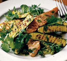 Warm Salad of Chargrilled Courgettes & Salmon by bbcgoodfood #Salad #Warm_Salad #Courgettes #Zucchini #Salmon #Healthy
