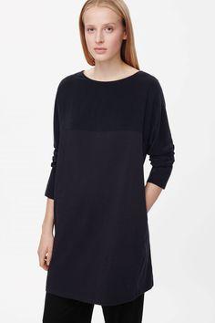 Silk and cotton panel dress