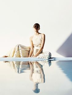 Who What Wear Blog: Poolside Summer Beauty Editorial Vogue Japan, Model: Jacquelyn Jablonski, Photographer: Julia Noni, Proenza Schouler Metallic Pleated Dress