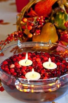 Cranberry candle decoration