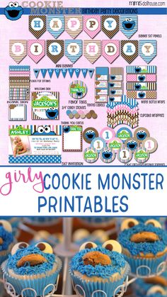 Girly Cookie Monster Printable Party Decorations. Sesame Street party.  Cookie Monster Party printables.  Easy Sesame Street Party Ideas. via @mimisdollhouse