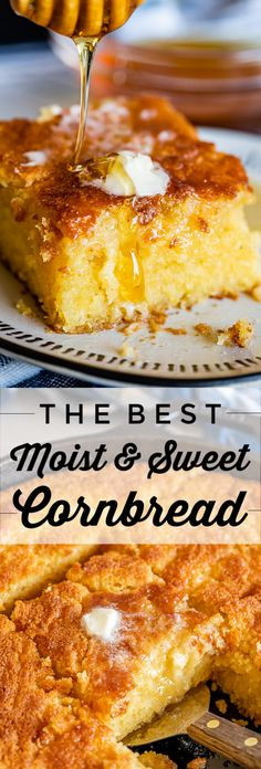 Sweet and Moist Honey Cornbread from The Food Charlatan This is my favorite homemade cornbread recipe It is very moist thanks to a little oil added to the batter and extr. Southern Cornbread Recipe, Best Cornbread Recipe, Honey Cornbread, Homemade Cornbread, Honey Butter Recipe For Cornbread, Southern Food Recipes, Soul Food Recipes, Chili And Cornbread, Gourmet