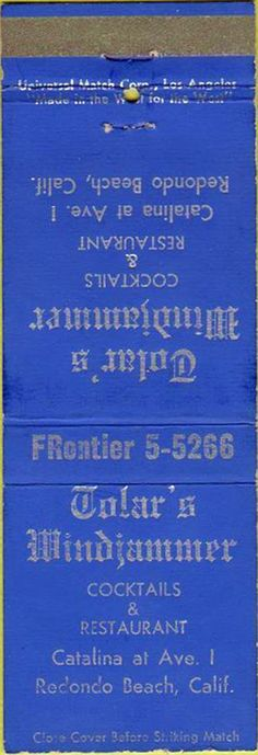 A classic rare matchbook from Old South Bay days.