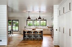Decorating with shiplap? Check out our inspiration for shiplap walls in every room of your house. New Kitchen, Kitchen Decor, Kitchen Island, Kitchen Black, Cheap Kitchen, Rustic Kitchen, Kitchen Living, Living Room, Cocinas Kitchen