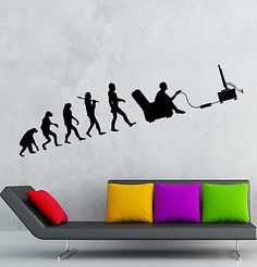 Wall Decal Gamer Evolution Video Game Kids Room Vinyl Sticker Art Mural (S 10 in X 35 in, Black) *** Check out the image by visiting the link. (This is an affiliate link)