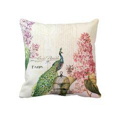 Paris Peacock Throw Pillow by Peacock Decor, Peacock Theme, Peacock Pillow, Peacock Bedroom, Bird Pillow, Decoupage, Pillow Fight, Pillow Talk, Sentimental Gifts