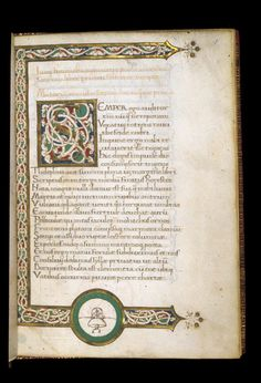 Three-sided white vine border, from Italy. British Library Harley 2649   f. 1  1462