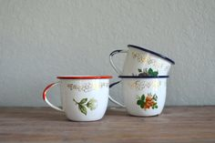 small floral enamel ware cups
