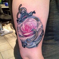 Anchor Rose Tattoo