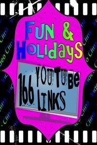 Perfect as a quick or longer reward for any age, this PDF file has 166 YouTube video hyperlinks to a wide variety of fun video clips, full episodes, movies, and songs. The work of finding fun and holiday videos is done for you! Just click and enjoy.
