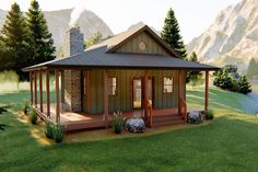 This charming Cottage style cabin plan is very welcoming with a large covered porch. Once inside you will notice how large this cabin feels with its cathedral ceilings. The cozy great room includes a fireplace and flows into a large full kitchen. Small Cabin Plans, Cabin House Plans, Tiny House Cabin, House With Porch, Tiny House Design, Cabin Homes, Small House Plans, House Floor Plans, Small Cabin Designs
