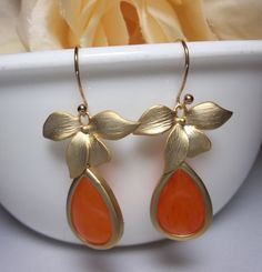 Gold Earrings with ORANGE dyed Jade stone and by QueenMeJewelryLLC, $28.99