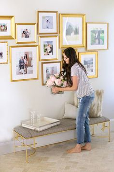 Gallery wall decor ideas to show sweet memory 20 - Savvy Ways About Things Can Teach Us Gallery Wall Frames, Frames On Wall, Gold Frames, Wall Collage, Gallery Walls, Framed Wall, Gold Frame Wall, Gold Picture Frames, Living Room Decor