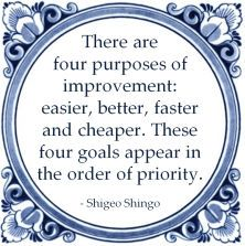 There are four purposes of improvement: easier, better, faster and cheaper. These four goals appear in the order of priority. Leadership Strategies, Leadership Quotes, Work Quotes, Life Quotes, 6 Sigma, Lean Manufacturing, Lean Six Sigma, Change Management, School Motivation