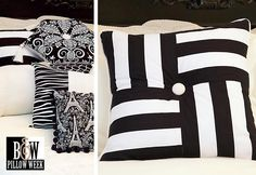 Black & White Pillow Pile: Squares & Stripes