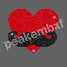 Glitter Heart with Mustache Rhinestone Heat Transfers Wholesale 30 pcs