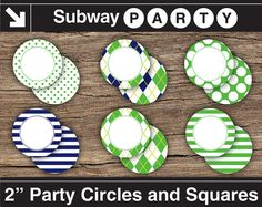 INSTANT DOWNLOAD Printable Golf Theme Party Circles and Squares / Cupcake Toppers. Navy Blue & Green Argyle. Add Your Own Text DIY jpg by subwayParty
