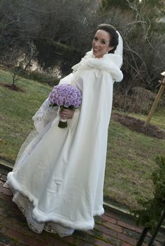 Winter wedding cape. Reminds me of the cape Belle has in Beauty and the Beast.