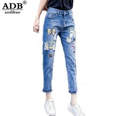 27.29$  Buy here - http://alii3y.shopchina.info/go.php?t=32798317150 - Aodibao 2017 New Spring Vintage Boyfriend Jeans For Women Distressed Ripped Patch Embroidery Harem Denim Pants Woman Jeans Femme  #magazineonline
