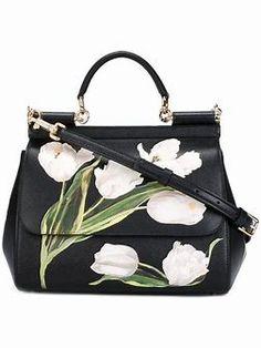 Dolce & Gabbana Medium Sicily Tulip Top Handle Bag In White Dolce & Gabbana, Dolce And Gabbana Handbags, Cheap Purses, Cute Purses, Tote Handbags, Purses And Handbags, Tote Bags, Men's Totes, Painted Bags