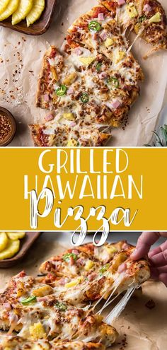 Topped with sweet pineapple & onions, salty ham, & spicy jalapenos, this Grilled Hawaiian Pizza is ready in 30 minutes & hides a tasty secret ingredient! Barbecue Recipes, Pizza Recipes, Grilling Recipes, Easy Dinner Recipes, Easy Meals, Bbq, Vegetarian Grilling, Easy Recipes, Summer Barbeque