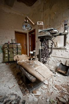 Dental chair in abandoned mental hospital