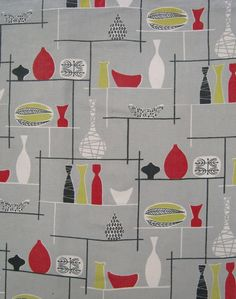 """Original David Whitehead fabric - it may be a Marian Mahler design. Early 1950s design - recorded in the """"David Whitehead Ltd Artist Designed Textiles 1952 -69"""" book and described as being inspired by """"fashionable Swedish designs"""" of the time."""