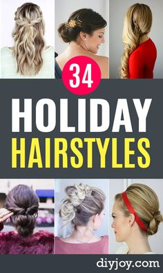 34 Best Holiday Hairstyles Holiday Hairstyles - Cute and Easy Hairstyles for Special Occasion - Updo, Party Hair, Easy Braids and Pretty Hair Styles Holiday Hairstyles, Party Hairstyles, Hairstyles For School, Braided Hairstyles, Cool Hairstyles, Wedding Hairstyles, Updo Hairstyle, Hairdos, Medium Hair Styles