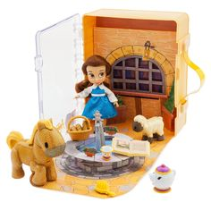 Young Belle gets a little help from her friends Philippe, Mrs. Potts, and Chip as she wanders through the quiet village. From the Disney Animators' Collection, this Mini Doll Play Set comes in a royal carry case with ''pop-up'' backdrop. Disney Stores, Disney Princess Dolls, Disney Dolls, Disney Babies, Mickey Mouse Club, Disney Mickey Mouse, Disney Play, Disney Animators, Disney Animator Doll