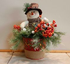 Plush Snowman in a Burlap Container with Holly by PamsDeZines
